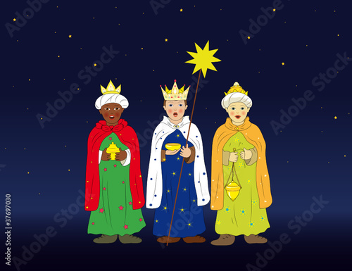 Heilige Drei Könige als Sternsinger am Abend Fotobehang