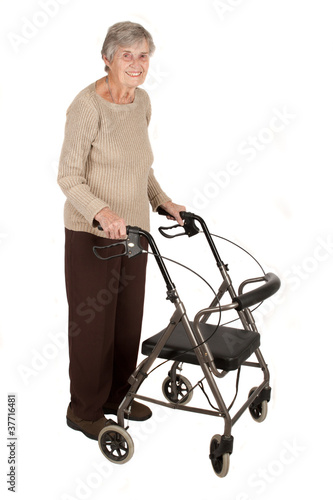Photo  Elderly woman with walker