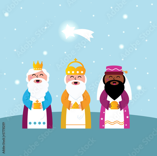 Photo Three wise men bringing gifts to Christ