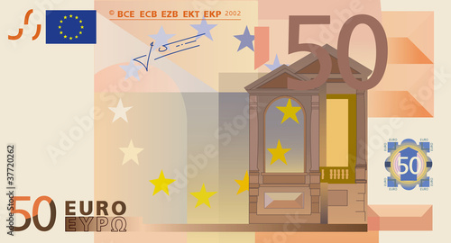 Fotografía  Photo-real vector drawing of a 50 euros banknote