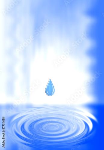 Fototapety, obrazy: Gota de agua que cae al círculo