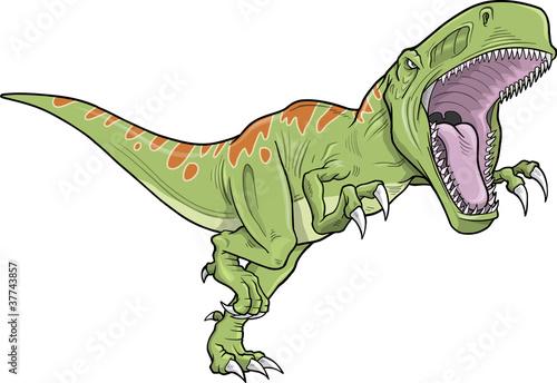 Montage in der Fensternische Cartoon draw Tyrannosaurus Dinosaur Vector Illustration