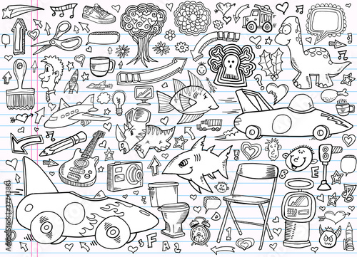 Poster Cartoon draw Notebook Doodle Design Elements Vector Set