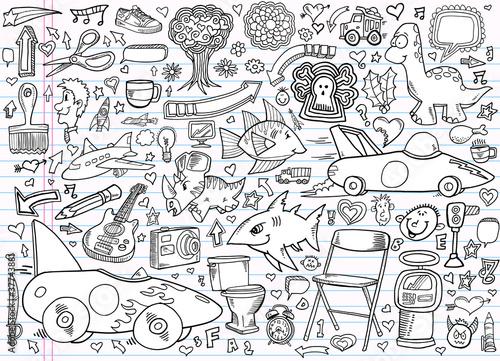 Garden Poster Cartoon draw Notebook Doodle Design Elements Vector Set