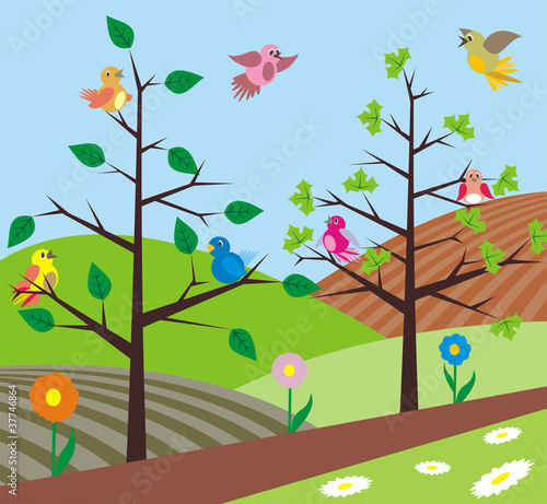 Wall Murals Birds, bees spring - birds singing