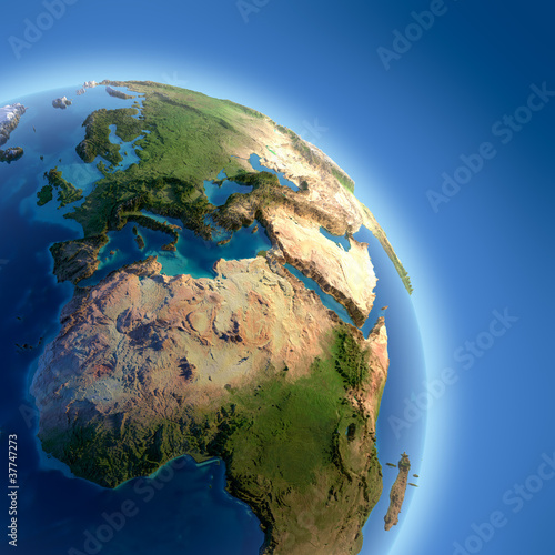 Fototapety, obrazy: Earth with high relief, illuminated by the sun