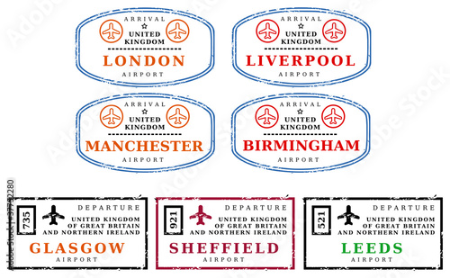 Travel Stamps Uk Buy This Stock Vector And Explore