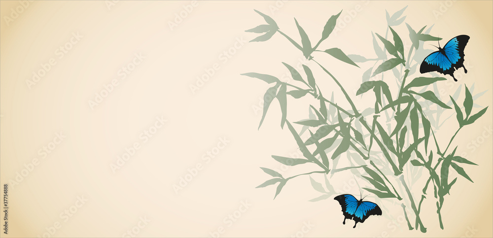 Vector background in oriental style. Butterflies among the bambo