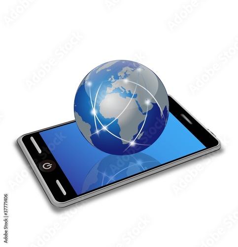 Plakaty ziemia wektor-smartphone-i-ziemia