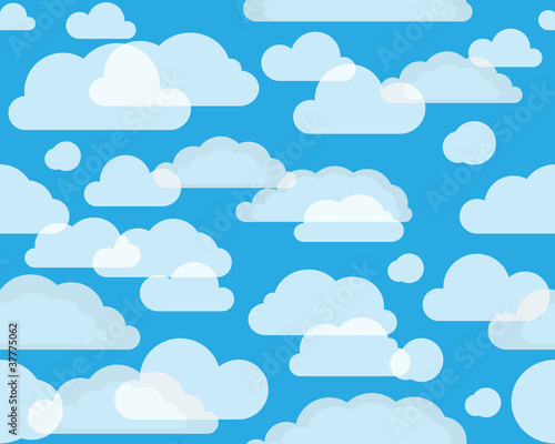 Poster Ciel Clouds on green-blue sky. seamless background