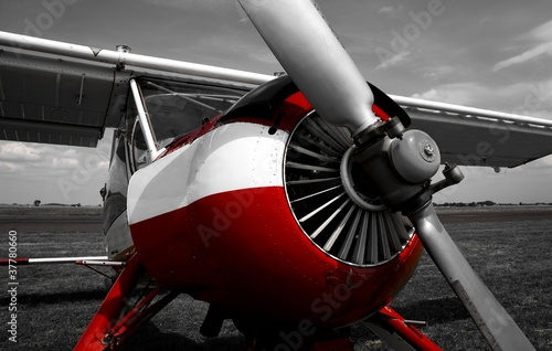 Poster Red, black, white plane