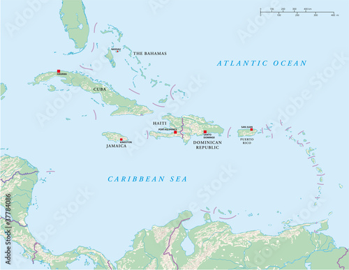 Caribbean Islands Political Map Greater And Lesser Antilles With