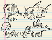 Angry Doodle Sketch Animals Vector Set