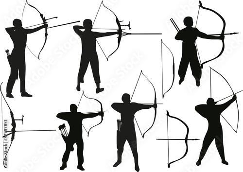 Photo set of archers isolated on white
