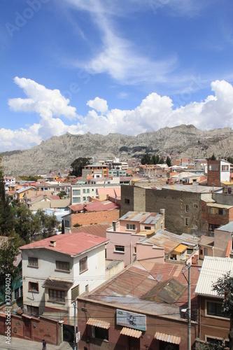 Fototapeta  Bolivian slums under blue sky