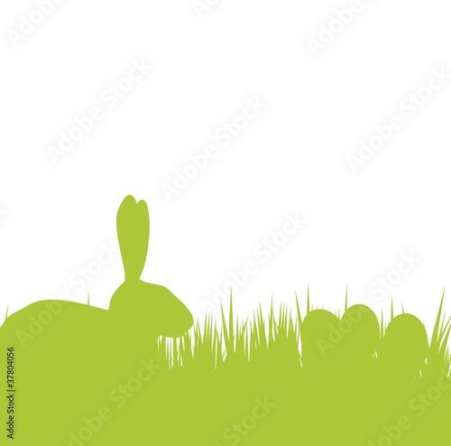 osterhase mit eiern und gras  silhouette stock