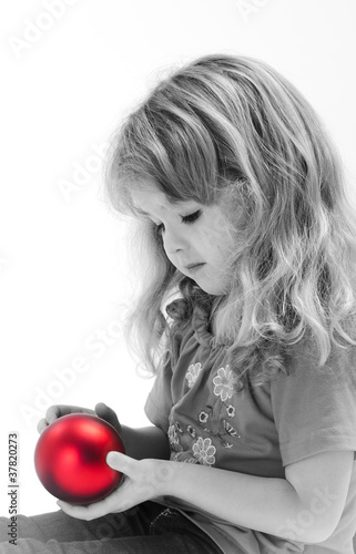 Acrylic Prints Red, black, white portrait of a girl