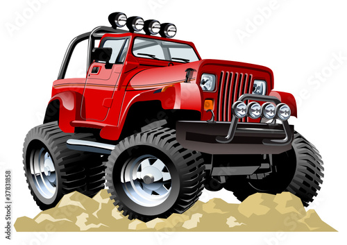 Poster Cars Vector cartoon jeep one-click repaint