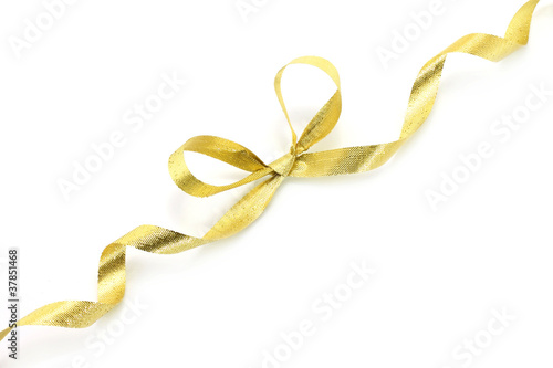 Fotografía  Golden holiday bow on white background
