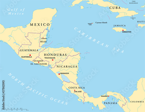 Central America And Mexico Map With Capitals.Central America Political Map With Capitals National Borders