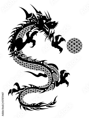 2012 Flying Chinese Dragon with Ball Clipart Poster