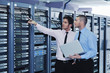 canvas print picture - it enineers in network server room