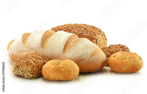 Composition with bread and rolls isolated on white Fototapet
