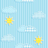 Blue seamless pattern with cute clouds and sun