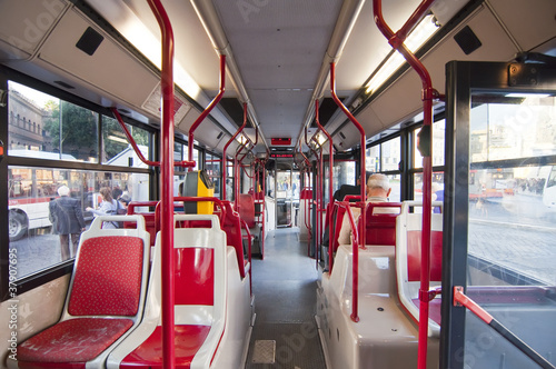 Inside of bus in Rome, Italy