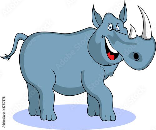 Poster de jardin Zoo funny rhino cartoon