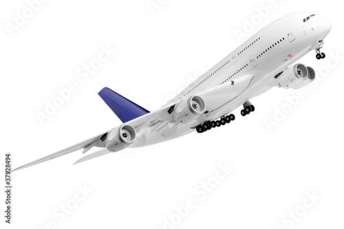Fotografia  Modern airplane  on white.