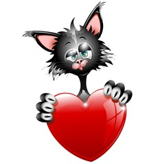 Gatto Innamorato S.Valentino-Cartoon Cat in Love-Vector