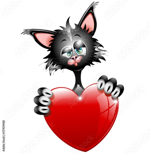 Gatto Innamorato S.Valentino-Cartoon Cat in Love-Vector
