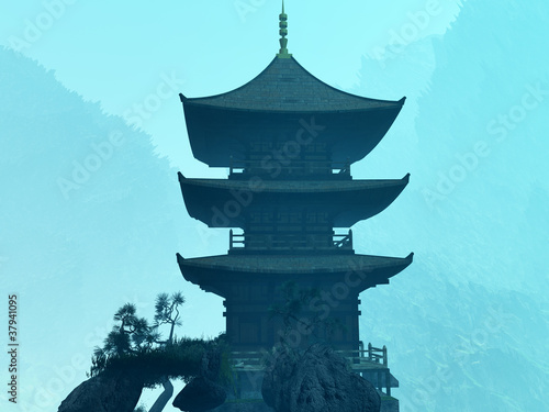 Photo  Zen buddhist temple in the mountains