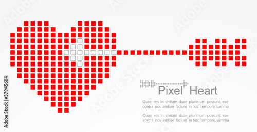 Foto op Aluminium Pixel Pixel heart with cupid arrow