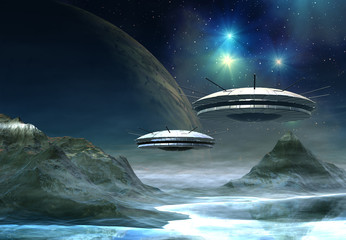 Obraz Alien World - Fantasy Planet with UFO's
