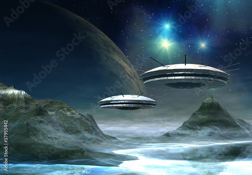Alien World - Fantasy Planet with UFO's Poster