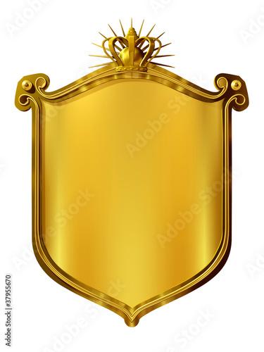 Fotografia, Obraz  goldenes Wappenschild mit Krone
