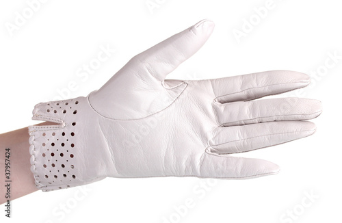 bf693fcfa women hand in gray leather glove isolated on white - Buy this stock ...