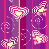 Seamless heart and swirl background