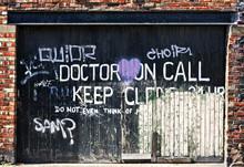 Grafitti Covered Garage Door