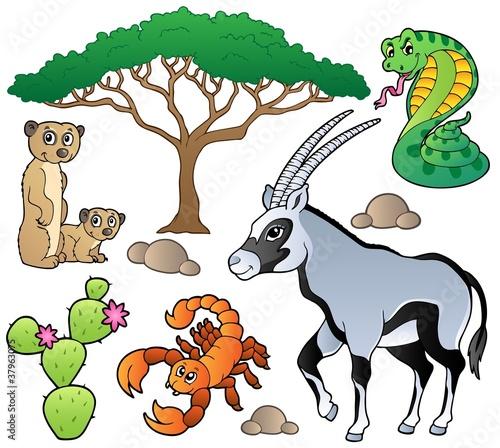 Poster de jardin Zoo Savannah animals collection 1