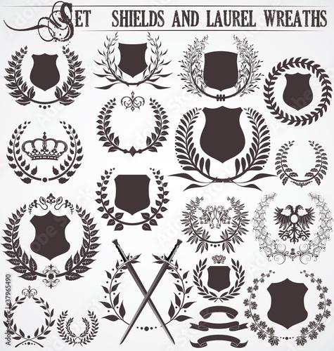 Fotografia, Obraz  set - shields and laurel wreaths