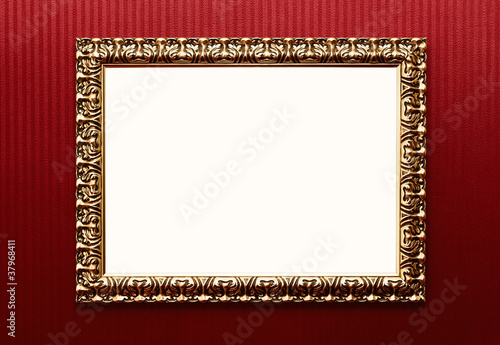 Blank Vintage Gold Frame Over Red Wallpaper With Path Buy This