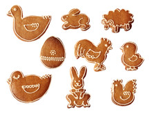 Collection Of Traditional Easter Or Christmas Gingerbread