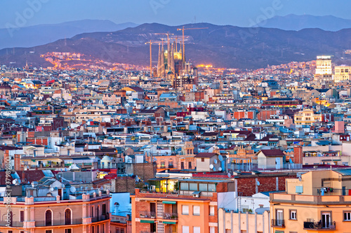 View of Barcellona from Montjuic, with the Sagrada familia. Wallpaper Mural