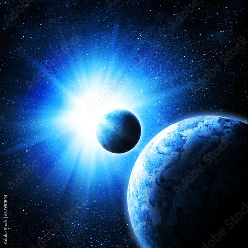 Fototapety kosmos  dwie-planety-na-tle-slonca