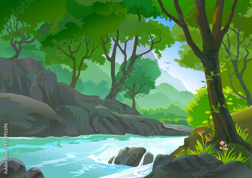 Canvas Prints River, lake TREES BY RIVERSIDE HILLS AND ROCKS