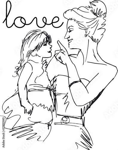 Deurstickers Illustratie Parijs Sketch of little girl having fun with her beautiful mother. Vect