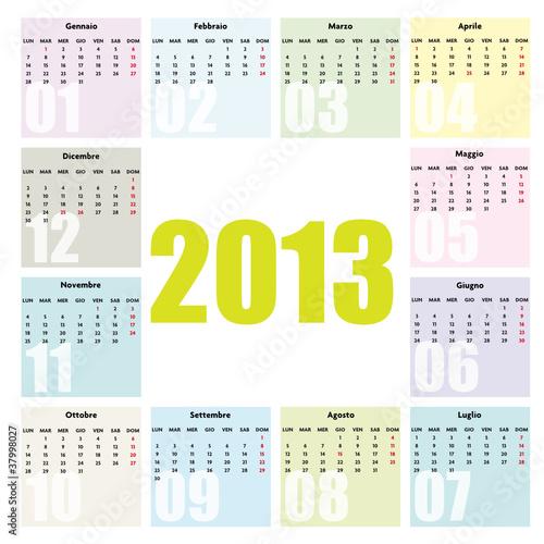 Calendario Con Festivita.Calendario 2013 Ita Con Festivita Colori Tenui Buy This